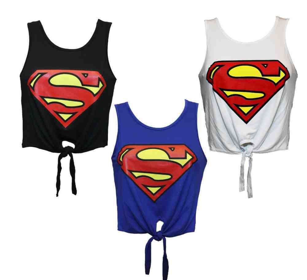 ladies womens girl superman batman logo printed crop top t shirt vest un. Black Bedroom Furniture Sets. Home Design Ideas
