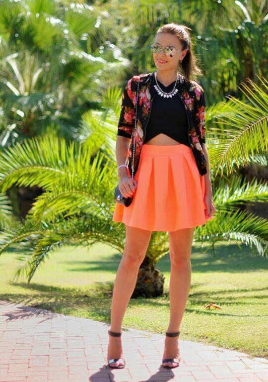 Orange skater skirt