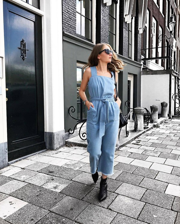 jumpsuit tumblr blue jumpsuit denim denim jumpsuit overalls boots ankle boots sunglasses shoes