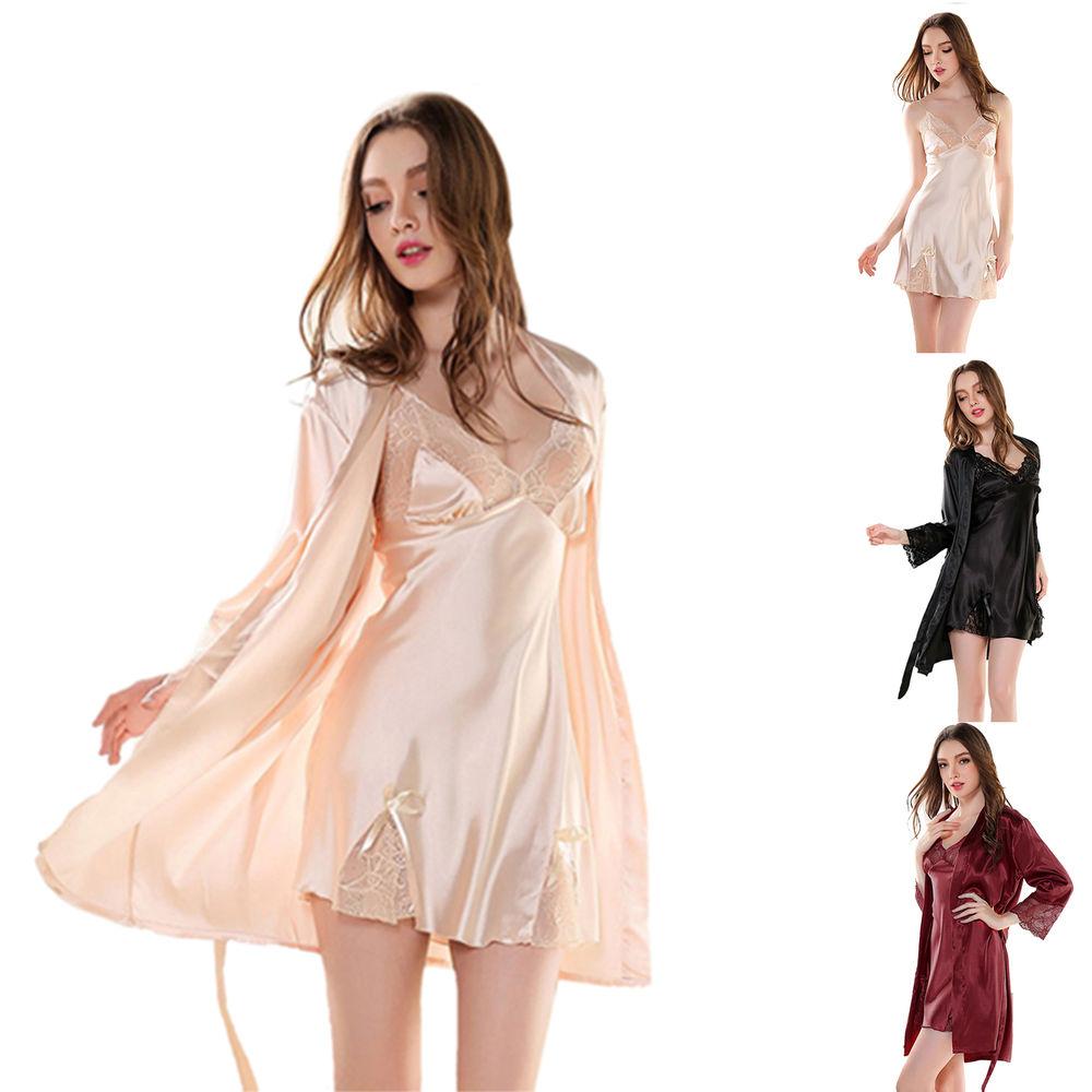 Women Sexy Silk Sleepwear Pajamas Set Lace Bow Chemise Robe Slip Dress & Coat