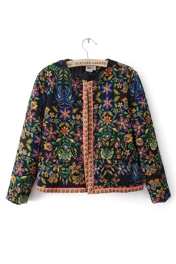 Floral Print Guilted Jacket [FEBK0161] - PersunMall.com