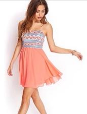 dress,patterned dress,pink dress,mini dress,tribal print dress