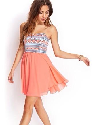 dress patterned dress pink dress mini dress tribal print dress