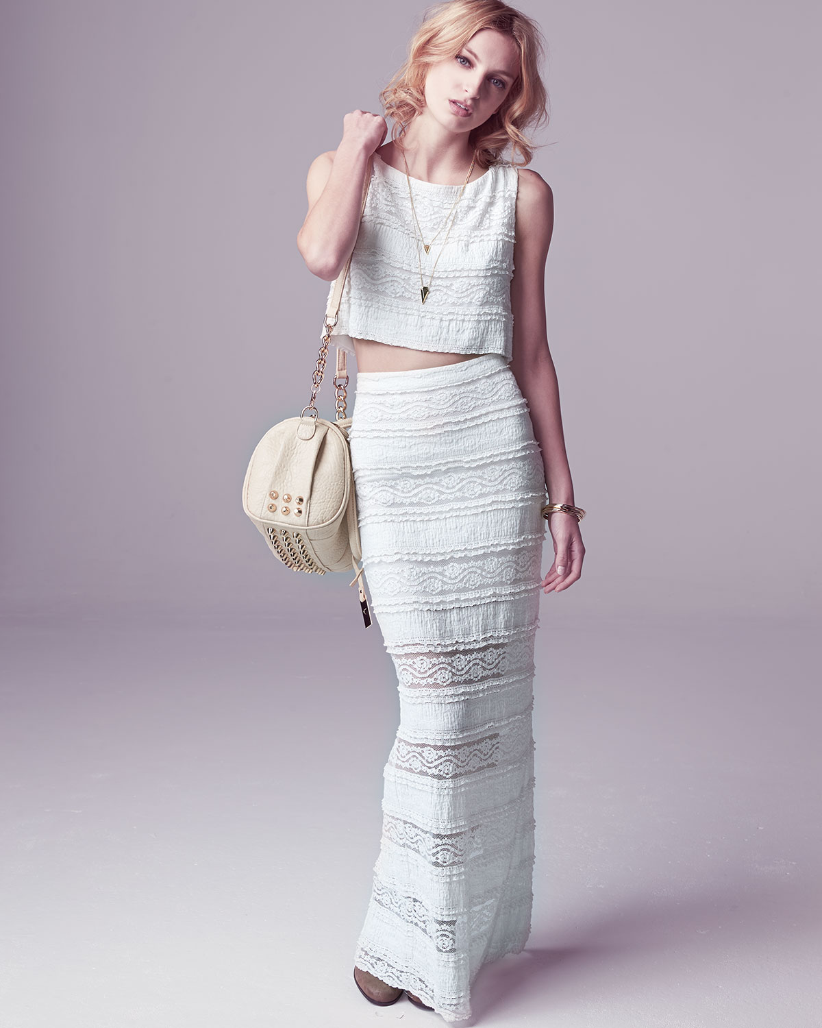 Alice   olivia ettley tiered lace maxi skirt