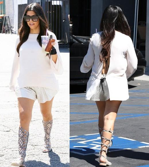 kourtney kardashian top blouse gladiator sandals sandals