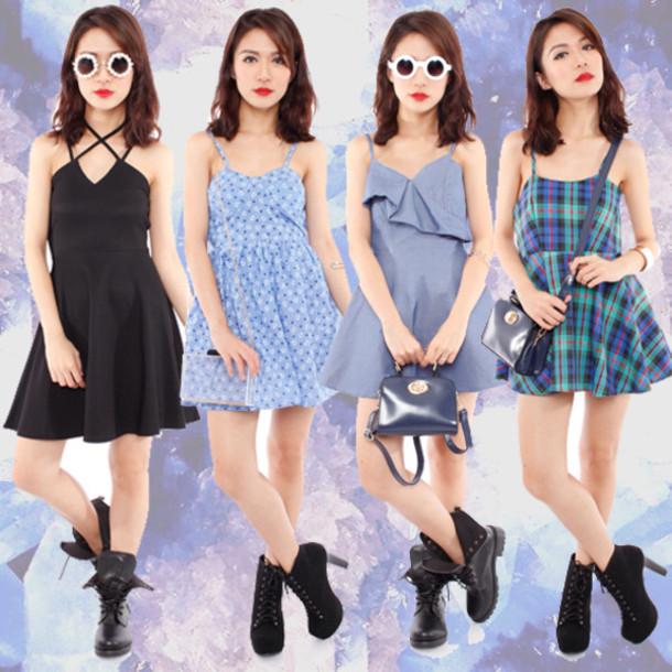 Dress spagetti staps dresses casual radpopsicles cute dress soft grunge rad blue dress ...