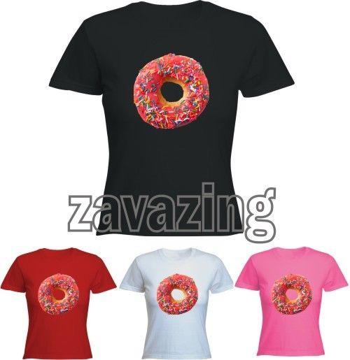 Pink Doughnut Donut Lady T Shirt Funny Joke Gift Present Sprinkles Desert Sweet | eBay