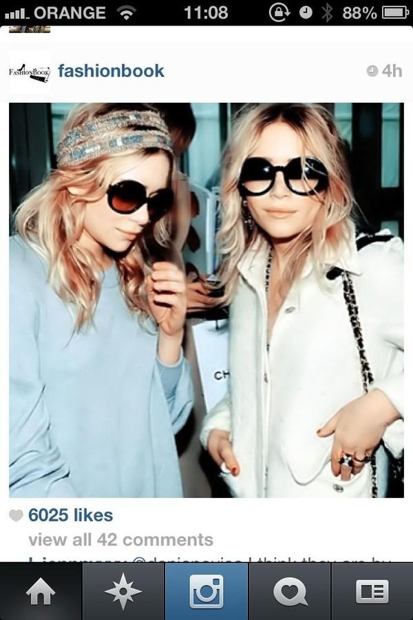 338ff4298d8b sunglasses chanel inspired black and white mary kate olsen ashley olsen  olsen hat.