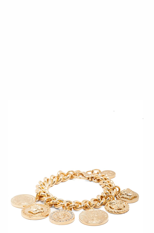 Medusa plated coin charm bracelet in gold