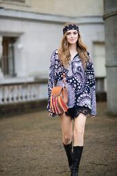 the blonde salad,blogger,sunglasses,bandana,fringed bag,brown bag,hippie chic,blue top,black lace,lace shorts,leather boots,black boots