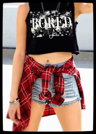 t-shirt checked shirt shorts light blue denim summer denim hipster goth hipster gypsy necklace ripped shorts high waisted shorts bracelets