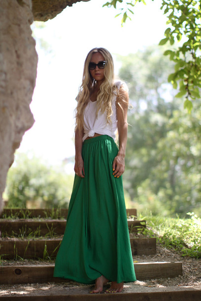 maxi skirt 5 inch and up green skirt