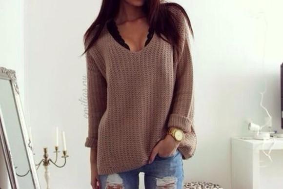 brown blouse vneck