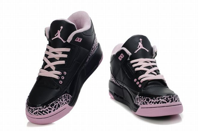 Ladies Jordan iii Black/Pink Basketball Shoes(Women Size) -  $103.69 -  Jordan Women Shoes Retro 3