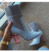 shoes,blue shoes,thick heel,heels,cute,classy,simple fahsion,nude dress heels,blue jeans,short heel,perplex heel,grey,baby blue,baby pink,pink,gold,boots,booties