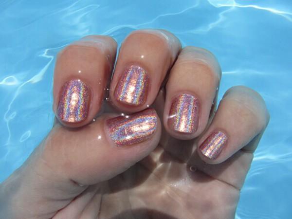 nail polish peach glitter shiny pink
