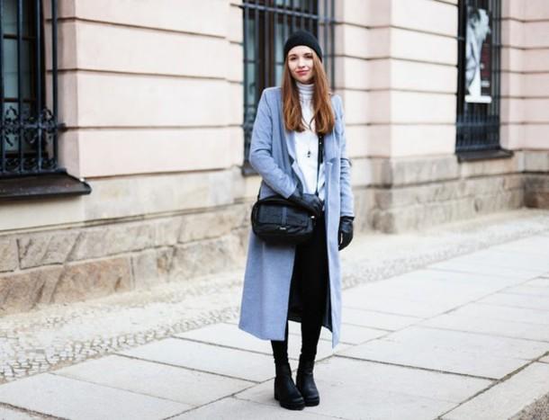 cruel thing blogger blue coat long coat black bag