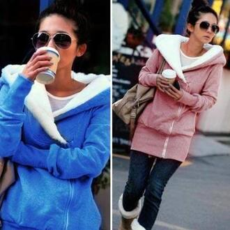 blouse sunglasses cardigan jacket comfy amazing too cute coffee bag accessories pink coat blue coat asap stylish fluffy wool style long sleeves winter outfits winter sweater help me find anyone? dress coat outerwear warm hoodie fall outfits cute korean fashion grey cozy fleece fashion
