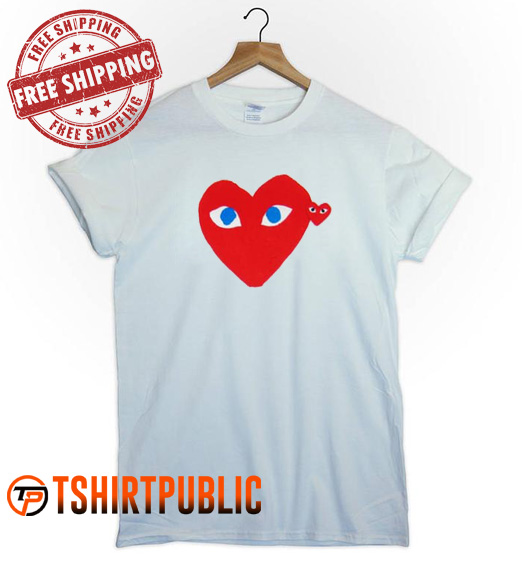 Comme Des Garcons Double Heart T Shirt Adult Free Shipping - Cheap Graphic Tees