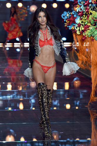 underwear boots leopard print over the knee boots lily aldridge sexy runway model victoria's secret shoes thigh high boots leopard boots
