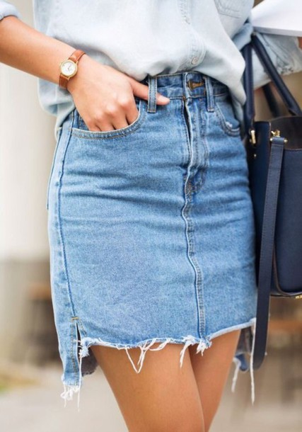 Skirt: raw cut denim skirt, high low denim skirt, denim skirt ...