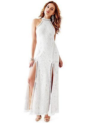 0547e4d25d8 Sunset Sleeveless Geo-Lace Maxi Dress at Guess