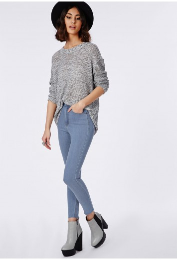 Edie light blue high waisted ankle grazer skinny jeans