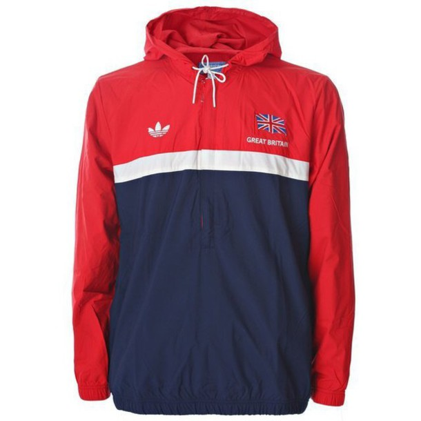 fc579fa7f jacket, red, blue, white, half zip, adidas, windbreaker, vintage ...