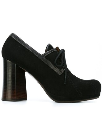 women pumps leather suede black shoes