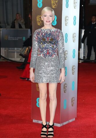 dress silver mini dress sequins sequin dress sandals michelle williams bafta