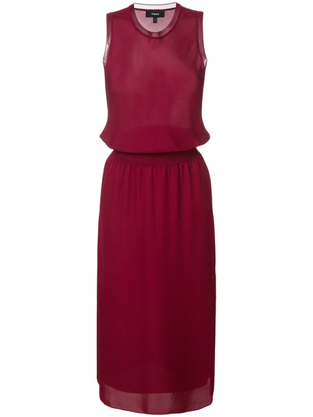 theory dress women silk purple pink