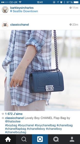 bag chanel chanel bag blue bag boy bag style fashion