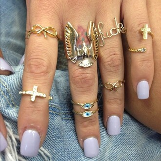 jewels gold eagle birds cross eye bow symbol hipster tumblr ring clothes jewelry fashion cute eye ring gold jewelry knuckle ring nail polish gold ring evil eye wings bows infinity mid mid ring
