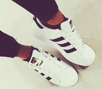 shoes trainers black white gold adidas