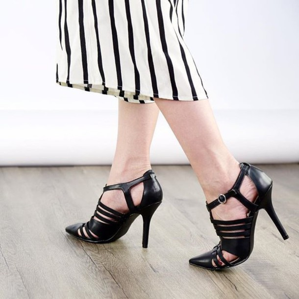 671bc4551bd4 shoes strappy heels black heels chic trendy fashion black style qupid  pointed toe pumps strappy pumps