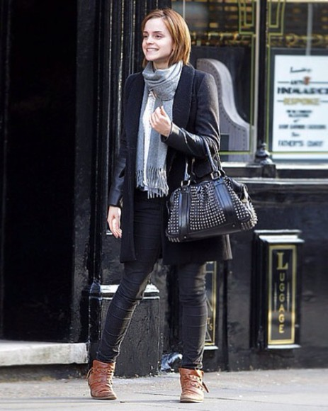 emma watson shoes jacket bag scarf jeans denim