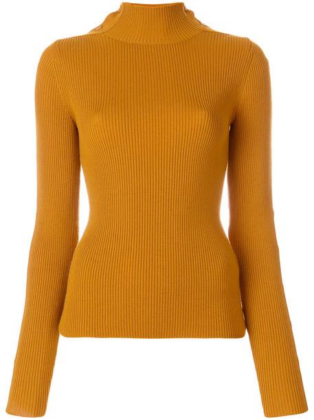 jumper women wool knit yellow orange sweater