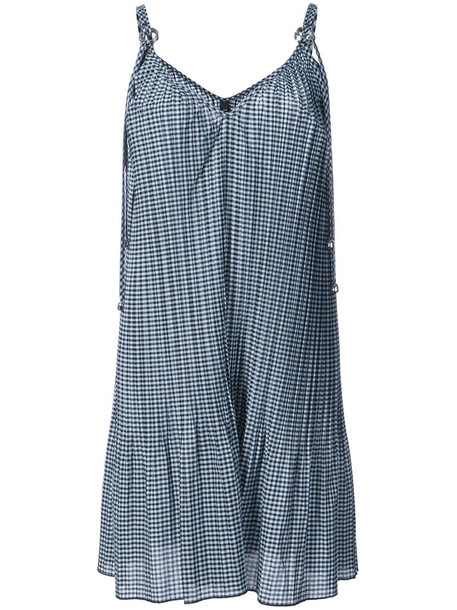 dress pleated dress pleated women cotton blue gingham