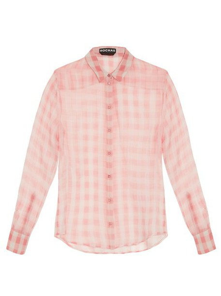 Rochas blouse silk gingham white pink top
