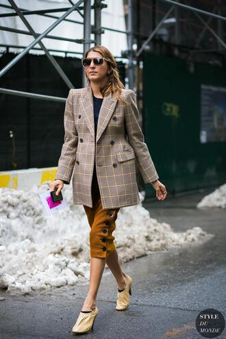 jacket tumblr blazer plaid plaid blazer check blazer streetstyle skirt midi skirt corduroy shoes