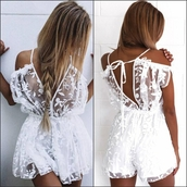 romper,white dress,sheer,sheer lace,see through,short,lace shorts,summer,beach,sexy,sexy romper,sexy jumpsuit,white romper,white jumpsuit,fashion,cool,hot,cute,cute dress,backless,backless dress,backless romper,open back,casual,casual chic,casual romper,deep v,plunge v neck,v neck,plunge omper,off the shoulder dress,preppy,cute cute dress,girly,girly wishlist,style,lookbook,fashionista,clubwear,urban,white top,white shorts,moraki,white,little white dress,see through dress,open back dresses,summer holidays,holiday season,holiday gift,holiday dress,curvy,plunge neckline,slash neck,off the shoulder top,instagram