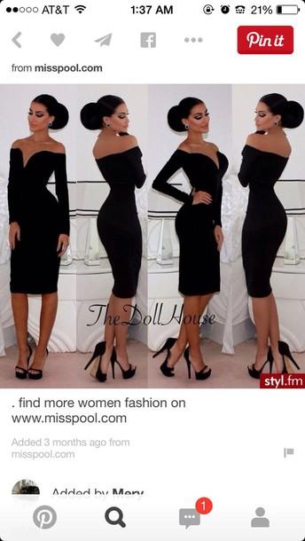 dress black dress sweetheart dress long sleeve dress