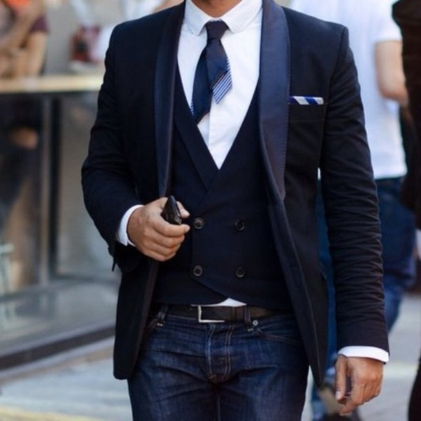 Jacket Blue Navy Waist Coat Fashion Cool Menswear Guys Prom