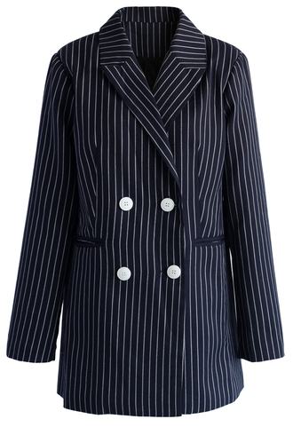 coat admire stripe double-breasted blazer chicwish blazer stripes