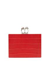leather clutch,clutch,leather,crocodile,red,bag