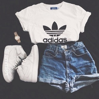 blouse white adidas cool tumblr swag dope hot black shirt top shorts shoes denim