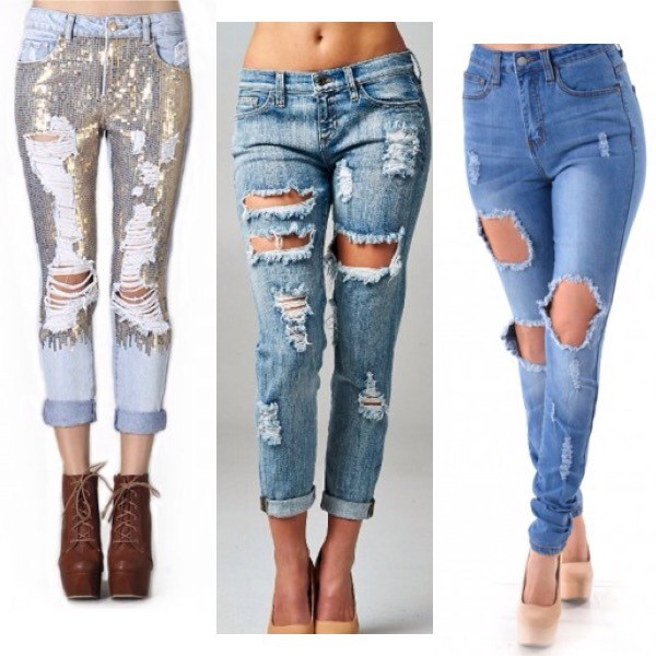 Plus Size Distressed High Waist Skinny Jeans