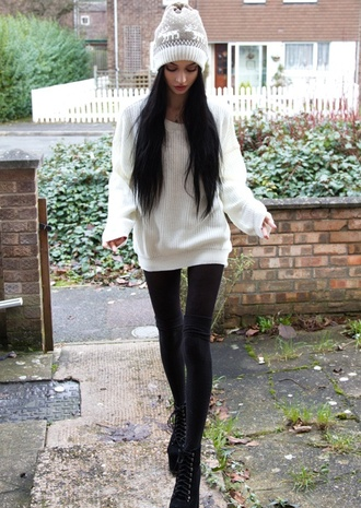 sweater jumper white winter outfits cute wooly knitwear girly baggy oversized pretty oversized sweater warmth hat beanie white sweater black jeans nordic pattern fall winter outfits