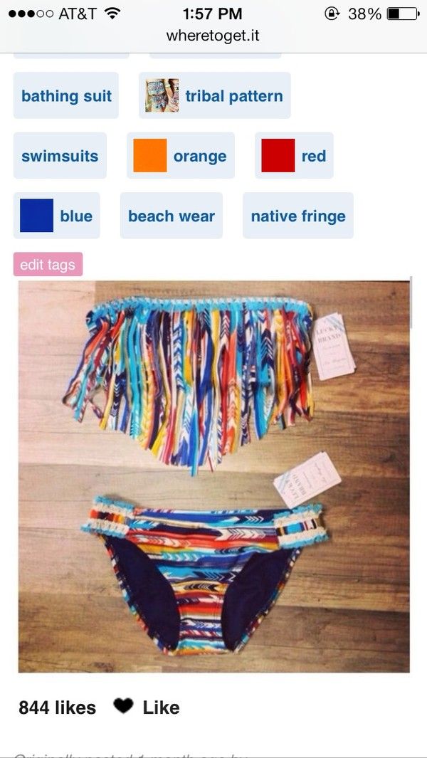 swimwear tribal pattern fringes bikini