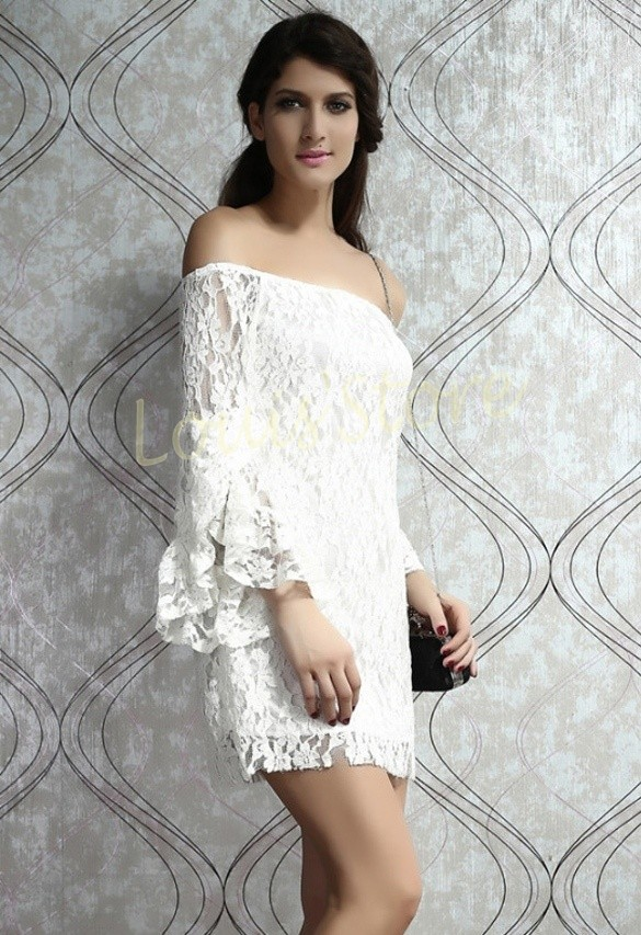 862f468b61ef Aliexpress.com   Buy New 2015 Summer Cream Lace Off The Shoulder Dress Long  Sleeve White Women ...